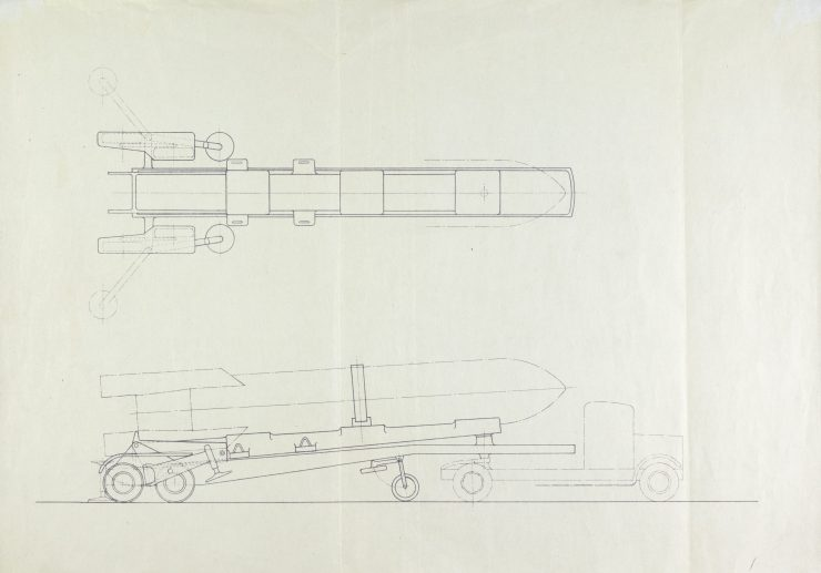 Drawing showing the British approximation of the V-2 rocket from the collection of Frank Ewart Smith.