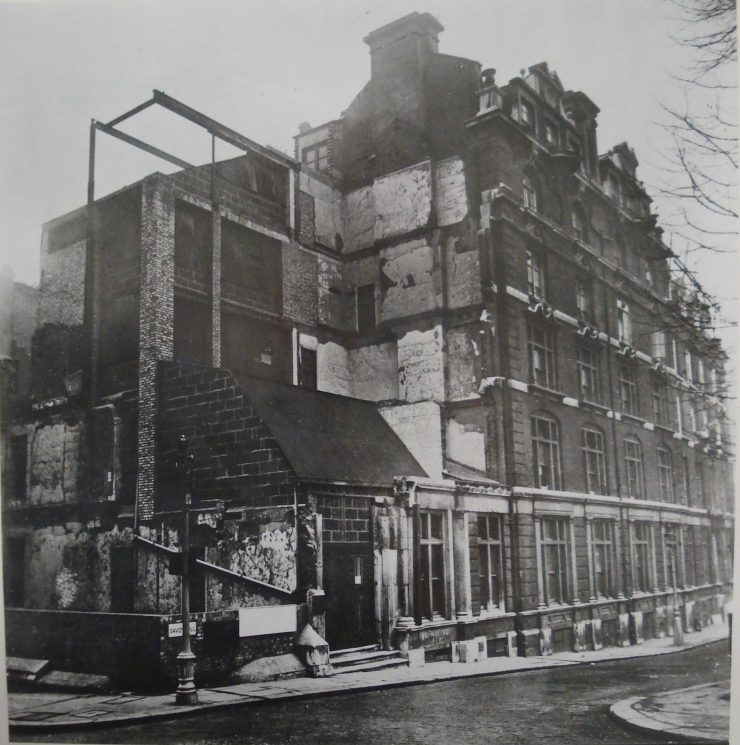 Black and white photography showing bomb damage at Savoy Hill House